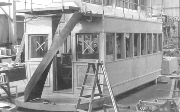 Horse Tram 1986: The bare coachwork of the new tram..